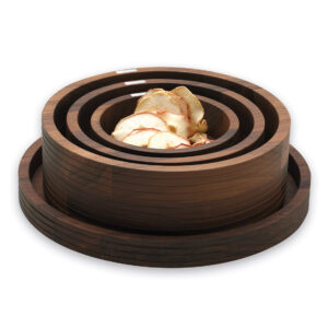 Dark Wood Bowls And Tray Stacked