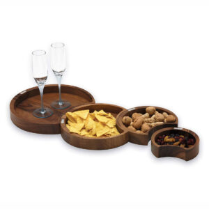 Dark Wood Moon Trays And Bowls